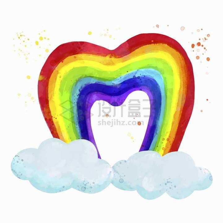 卡通云朵和心形七彩虹水彩画插画png图片免抠矢量素材