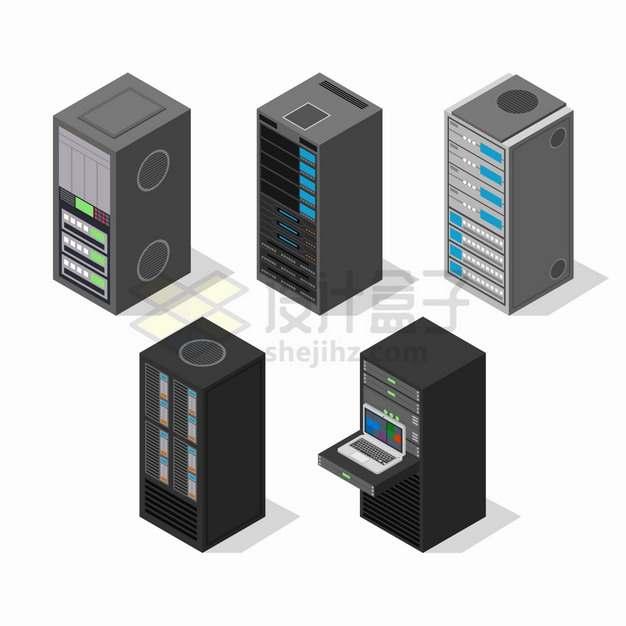 5台2.5D风格服务器云计算技术png图片素材