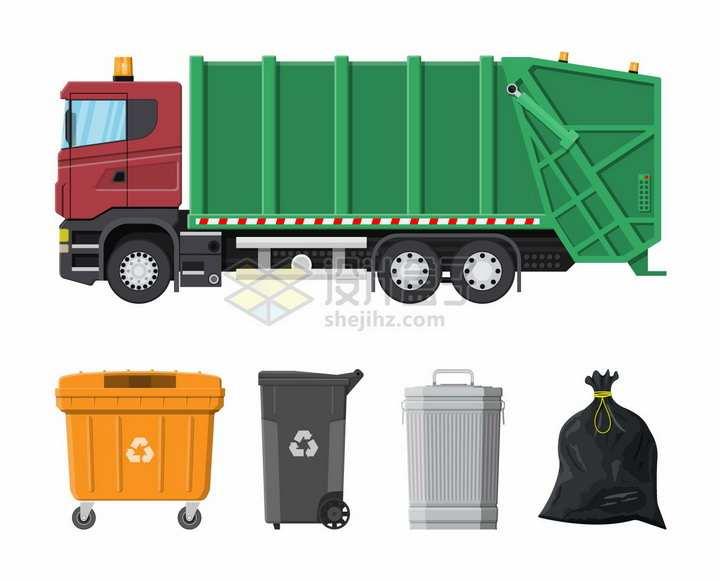 绿色的垃圾车垃圾箱垃圾桶和装满垃圾的垃圾袋png图片素材