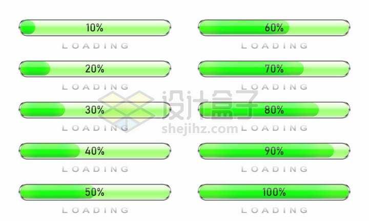 圆角绿色水晶进度条loading加载按钮设计png图片免抠矢量素材