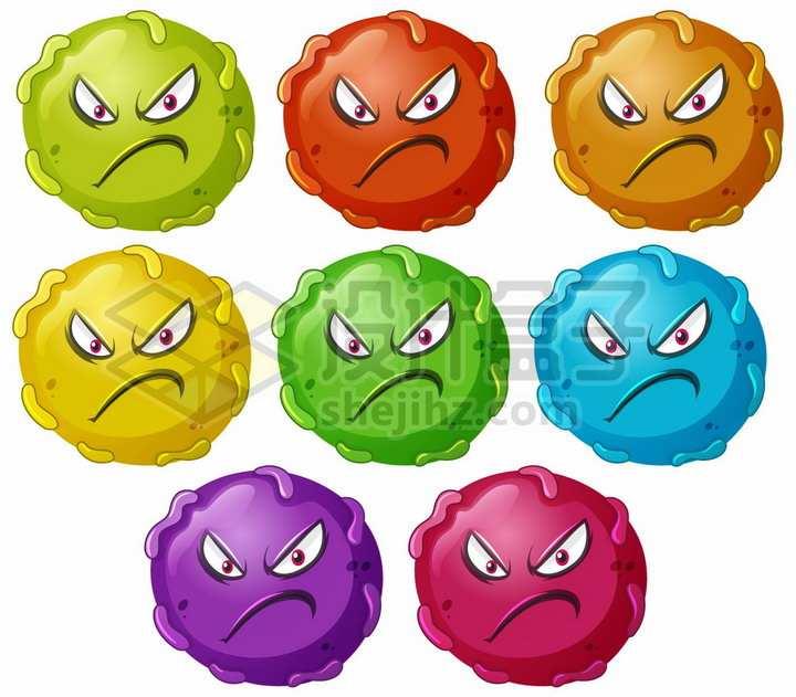 8种颜色的卡通病毒细菌细胞png图片免抠矢量素材