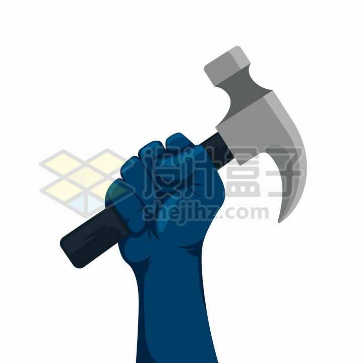 深蓝色的拳头紧握着榔头象征了五一劳动节png图片免抠矢量素材