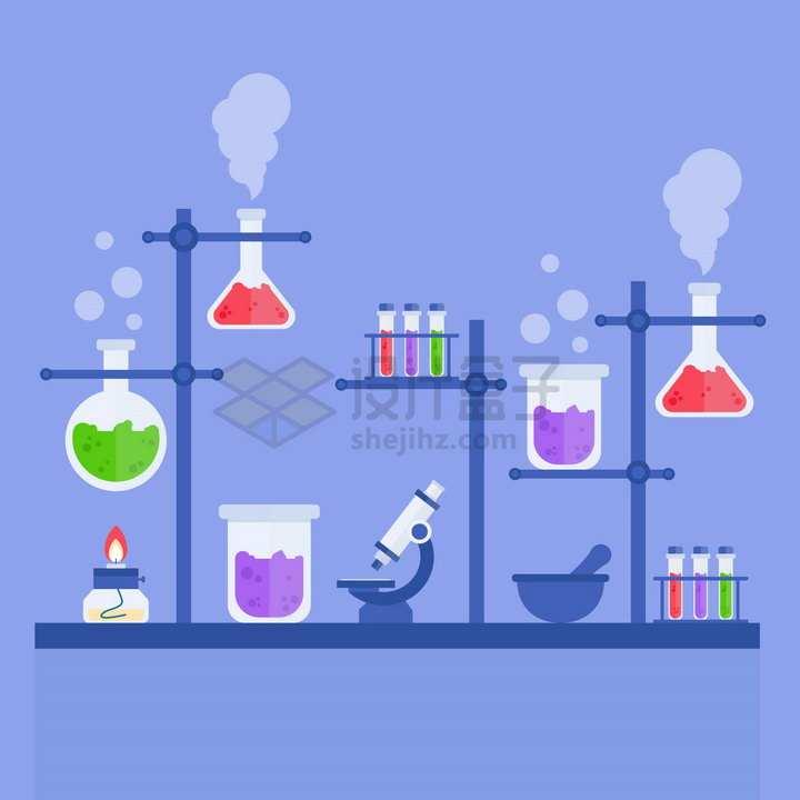 扁平化风格化学实验仪器和显微镜等png图片免抠矢量素材