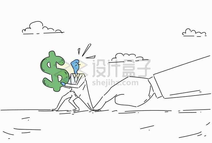 商务人士拿着美元标志被按住象征了投资被套牢线条插画png图片免抠矢量素材