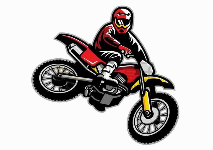 卡通漫画风格越野摩托车特技png图片免抠矢量素材