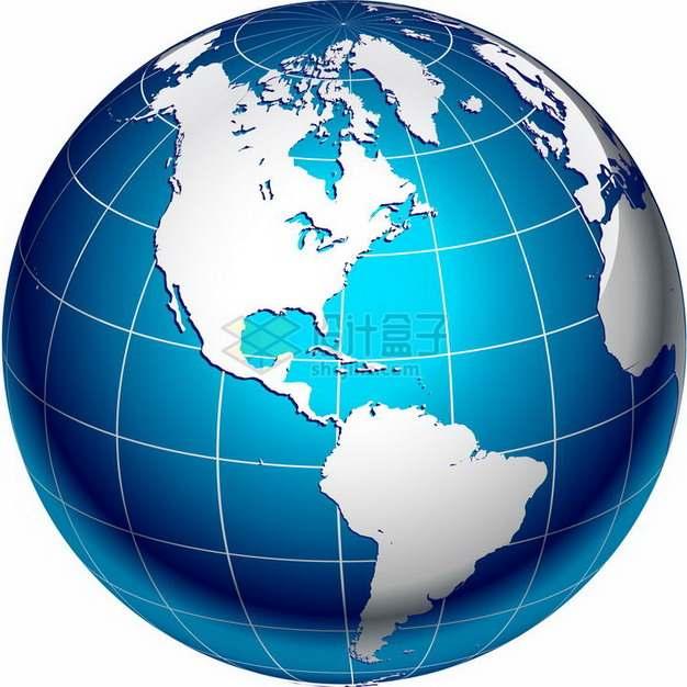 白色经纬线大陆和蓝色海洋的地球仪png图片免抠素材