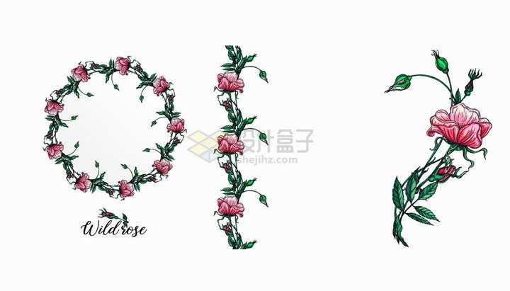 彩绘月季花圆形花环鲜花花朵和装饰png图片免抠矢量素材