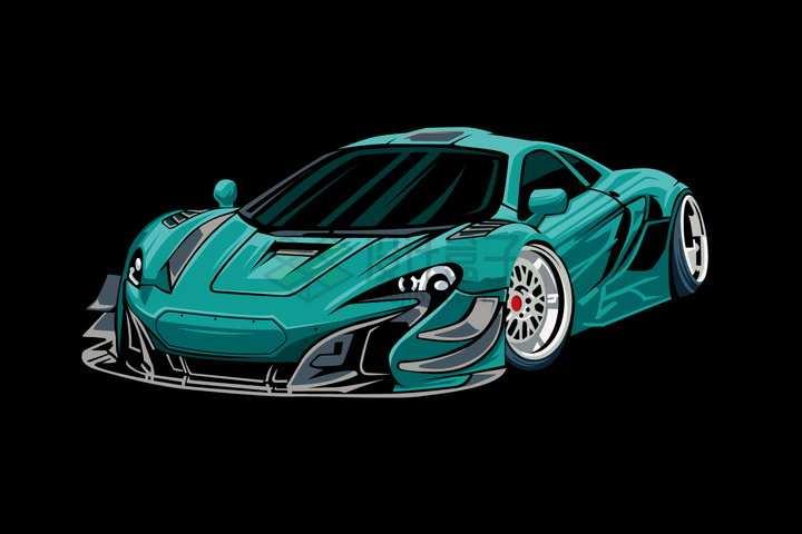 漫画风格绿色跑车汽车正面图png图片免抠矢量素材