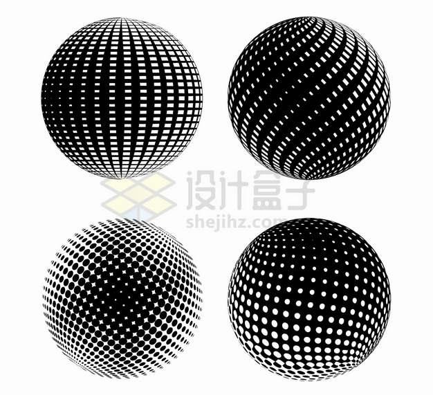 4款黑色圆点组成的抽象圆球图案5657989png图片素材