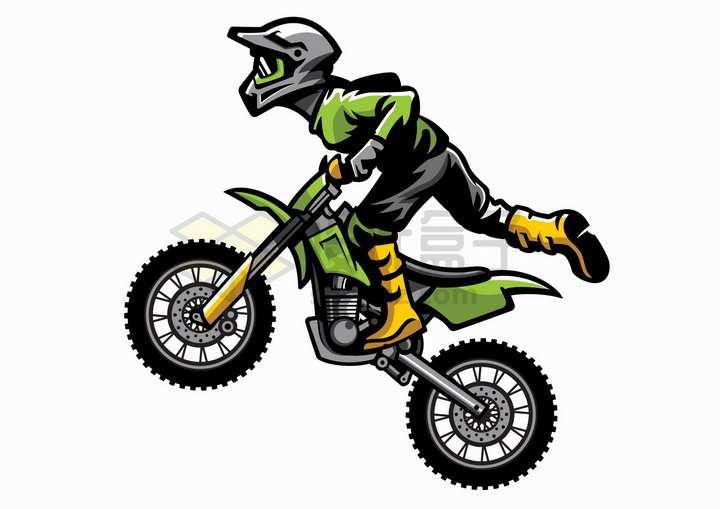 卡通漫画风格绿色的越野摩托车特技png图片免抠矢量素材
