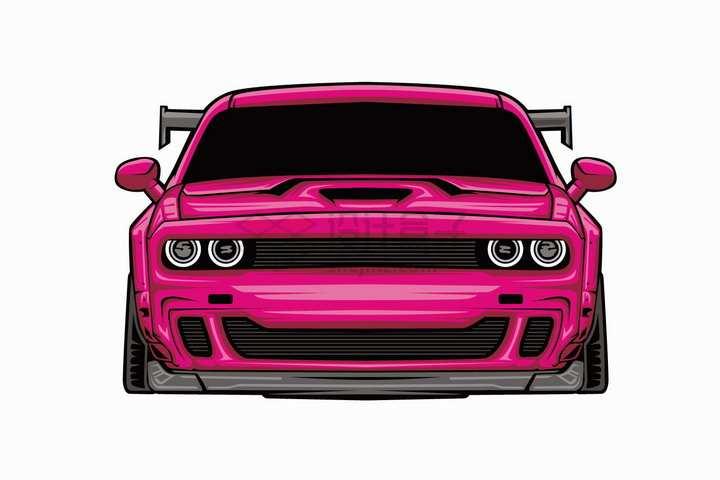漫画风格粉红色跑车汽车正面图png图片免抠矢量素材