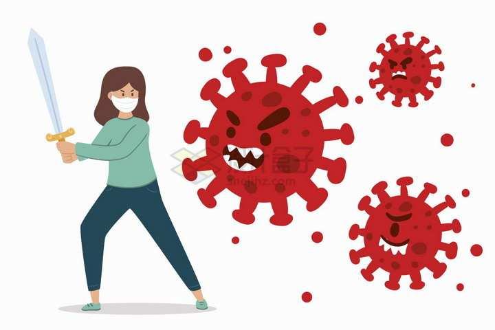 卡通女人拿着长剑对付新型冠状病毒扁平插画png图片免抠矢量素材