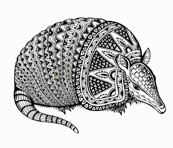 犰狳抽象图案纹理部落民族图腾png图片免抠矢量素材