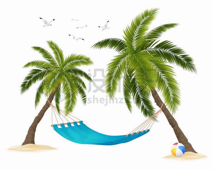 沙滩上的两棵棕榈树椰子树和中间的吊床png图片免抠矢量素材