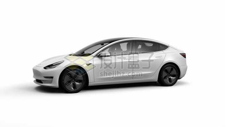 白色特斯拉Model 3电动汽车侧面图png图片素材