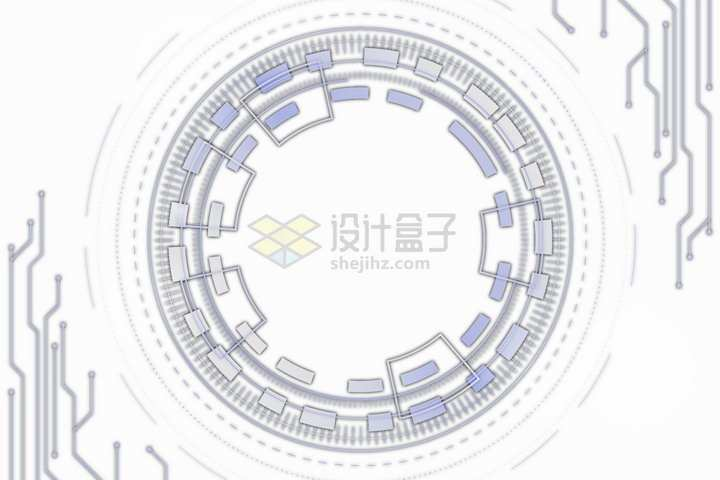抽象圆环和电路装饰png图片免抠矢量素材