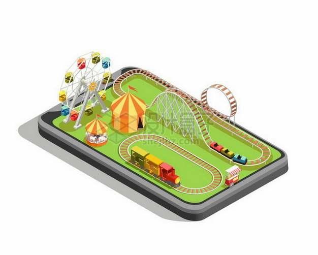 2.5D风格手机上的摩天轮旋转木马小火车过山车等游乐场设施png图片免抠矢量素材