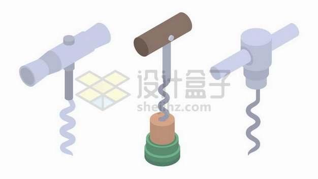 扁平化风格红酒软木塞开瓶器使用过程png图片免抠矢量素材