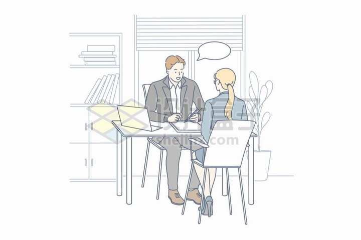 应聘者正在和面试者交谈手绘线条插画png图片免抠矢量素材