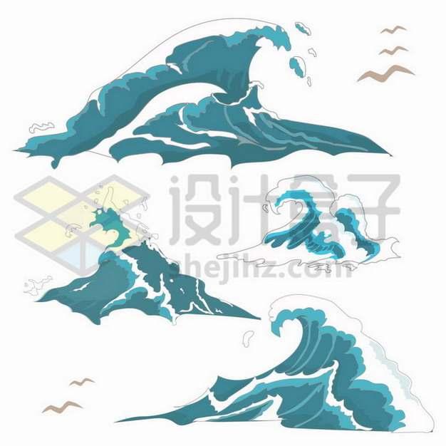 传统国画风格蓝色的海浪png图片免抠矢量素材