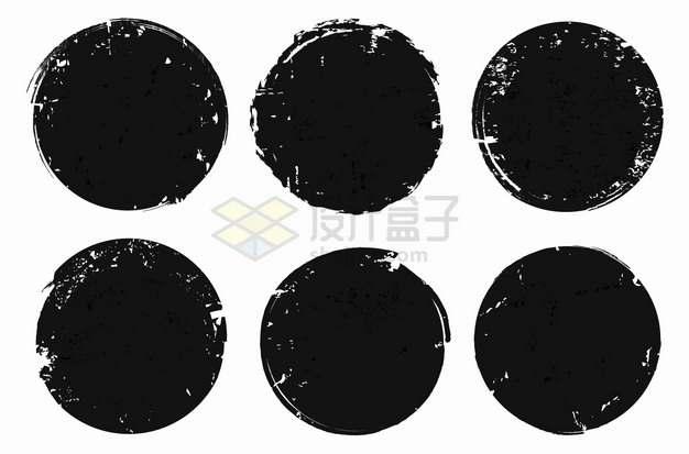 6款黑色墨水斑驳涂鸦圆圈背景框png图片素材