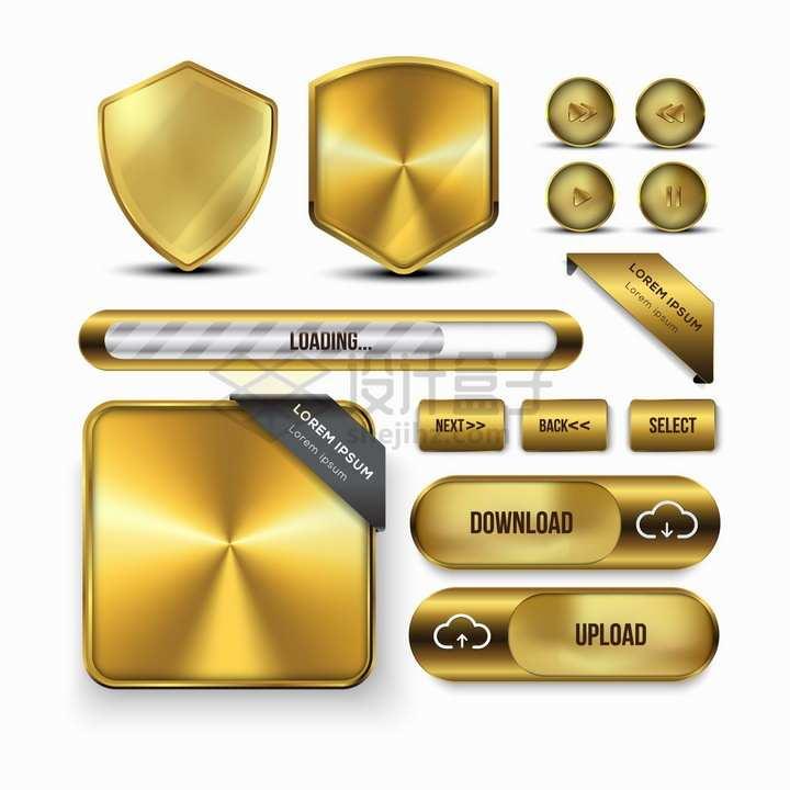 各种金属金色盾牌播放按钮下载按钮等png图片素材
