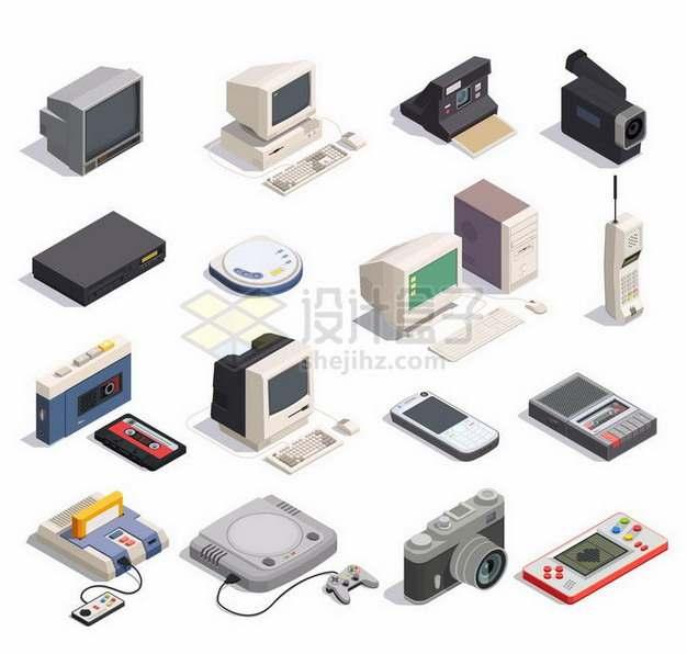 16款2.5D风格复古电脑摄像机CD机大哥大磁带录音机诺基亚手机卡带游戏机等png图片免抠矢量素材