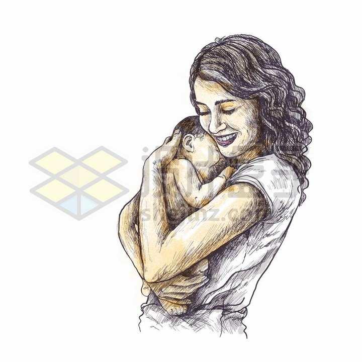 抱着婴儿宝宝的年轻妈妈母亲节彩绘素描插画png图片免抠矢量素材