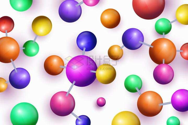 彩色圆球组成的分子结构图png图片免抠矢量素材