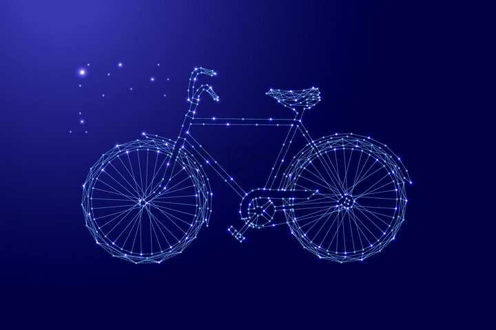 蓝色点线组成的自行车png图片免抠矢量素材