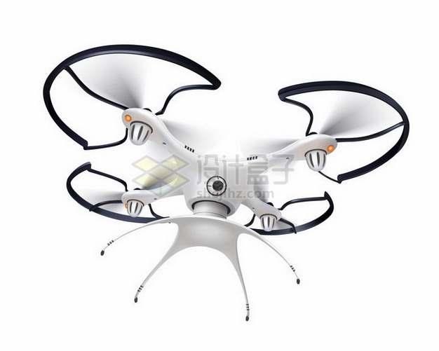 一款白色四轴飞行器无人机png图片免抠矢量素材