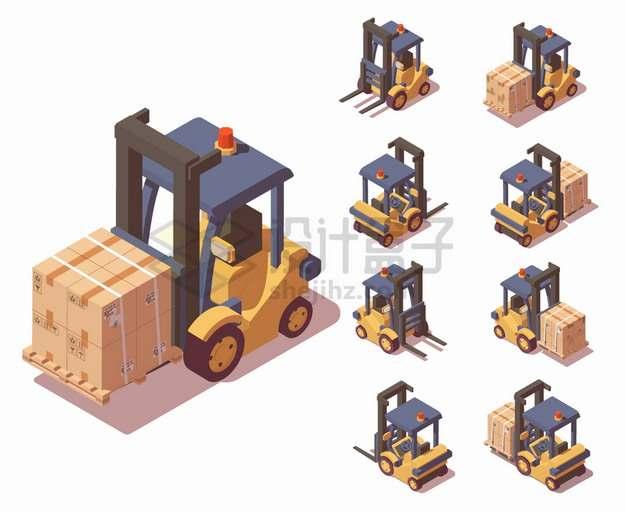 8个不同角度的2.5D风格电动叉车装满纸箱子货物物流快递行业png图片素材