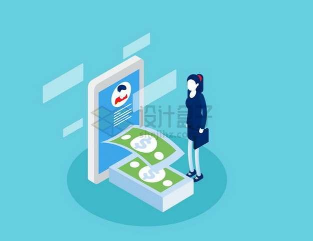 2.5D风格手机上收到钱的卡通女士png图片免抠矢量素材