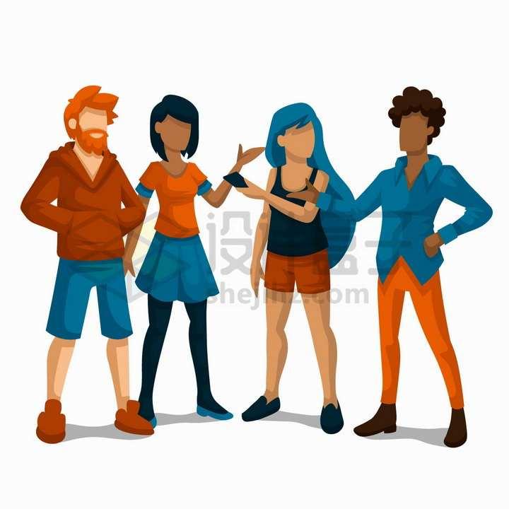 站在一起交谈的年轻男孩女孩扁平插画png图片免抠矢量素材