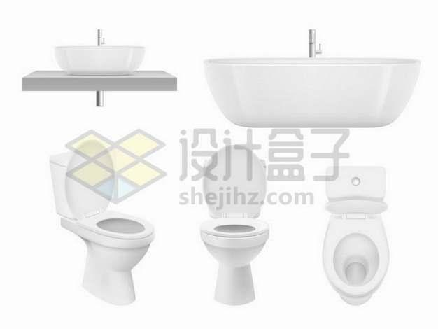 逼真的洗手池浴缸马桶等卫生间设施png图片免抠矢量素材