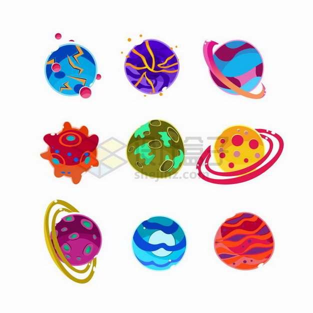 9款五彩斑斓的卡通星球太空宇宙png图片免抠矢量素材