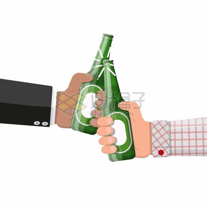 两只手拿着啤酒瓶碰杯喝酒png图片素材