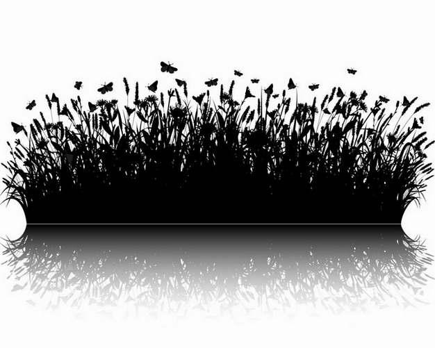 自带倒影的茂盛草丛和飞舞的蝴蝶自然剪影png图片免抠矢量素材