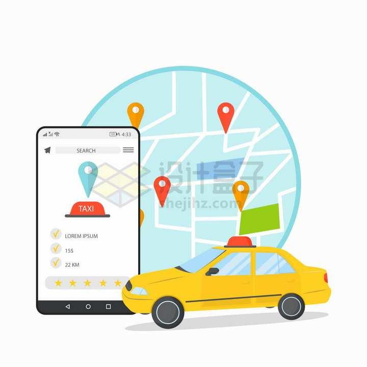 黄色出租车和手机打车APP png图片免抠矢量素材