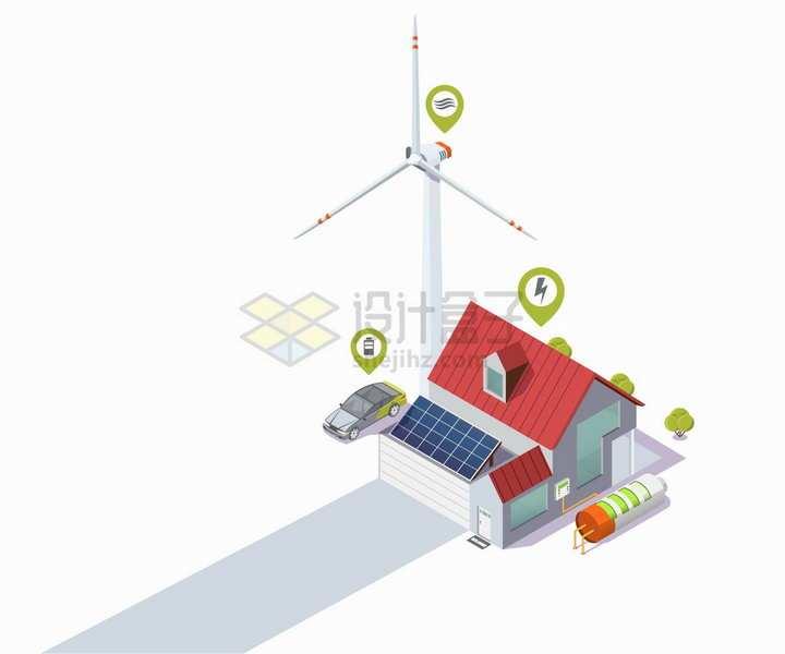 风力发电机太阳能发电绿色环保能源房屋和汽车png图片免抠矢量素材