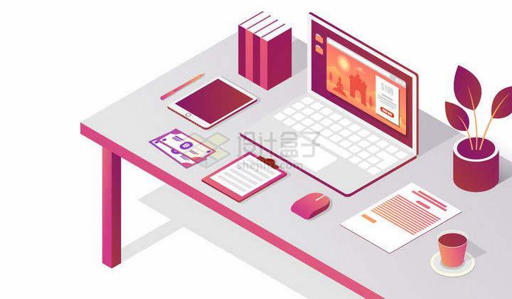 2.5D风格办公桌上的笔记本电脑和办公用品png图片免抠矢量素材