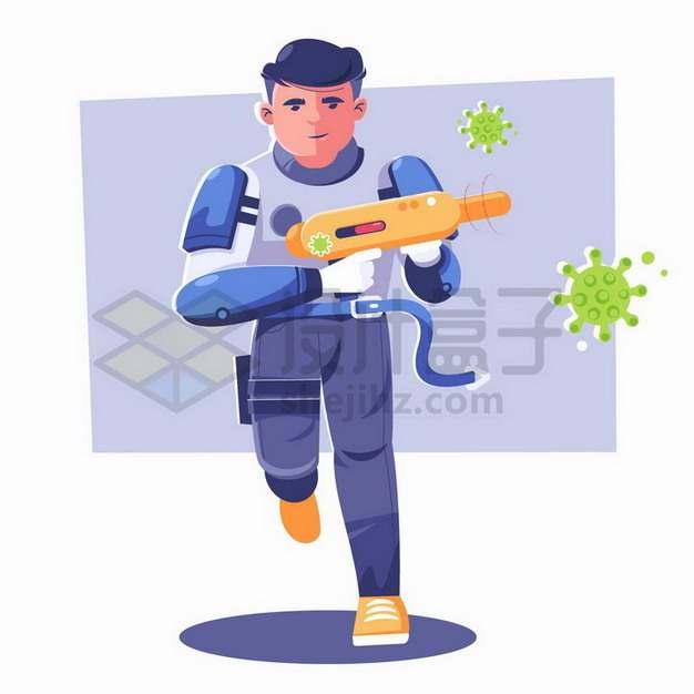 卡通战士拿着枪抗击新型冠状病毒的入侵png图片免抠矢量素材