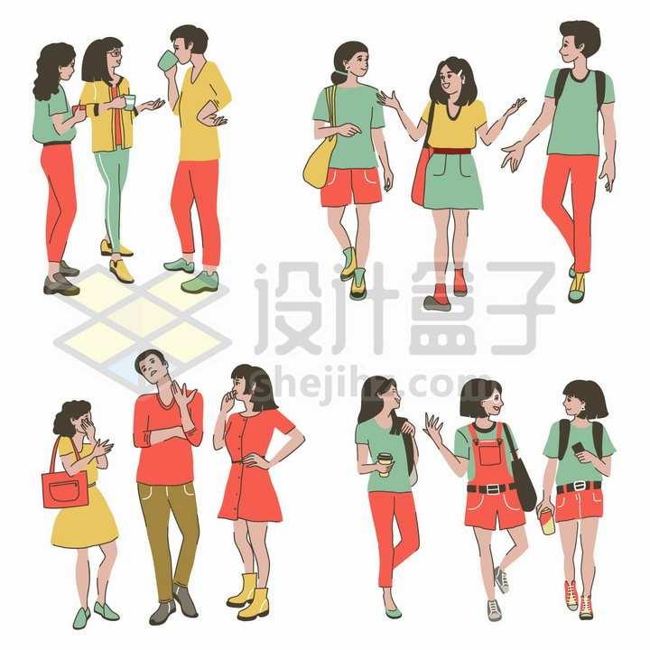 4组边走边聊的戴口罩年轻人预防新冠病毒肺炎手绘插画png图片免抠矢量素材