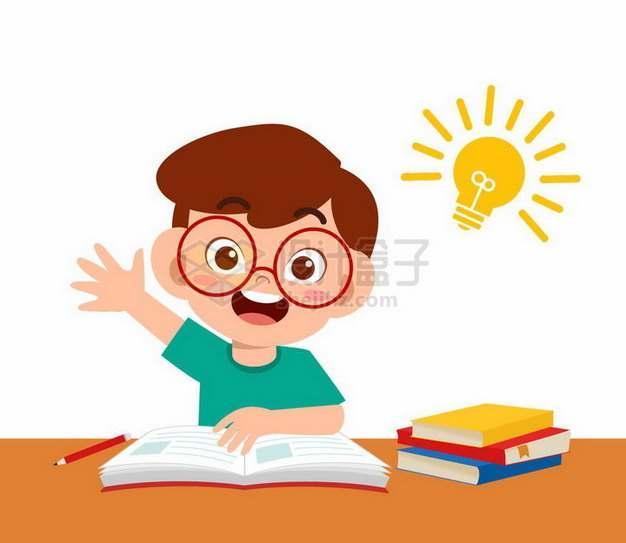卡通小男孩举手踊跃回答老师的问题png图片免抠矢量素材
