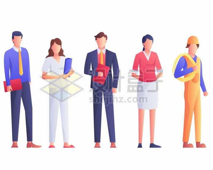律师医生销售员建筑工人等劳动人民五一劳动节扁平插画png图片免抠矢量素材