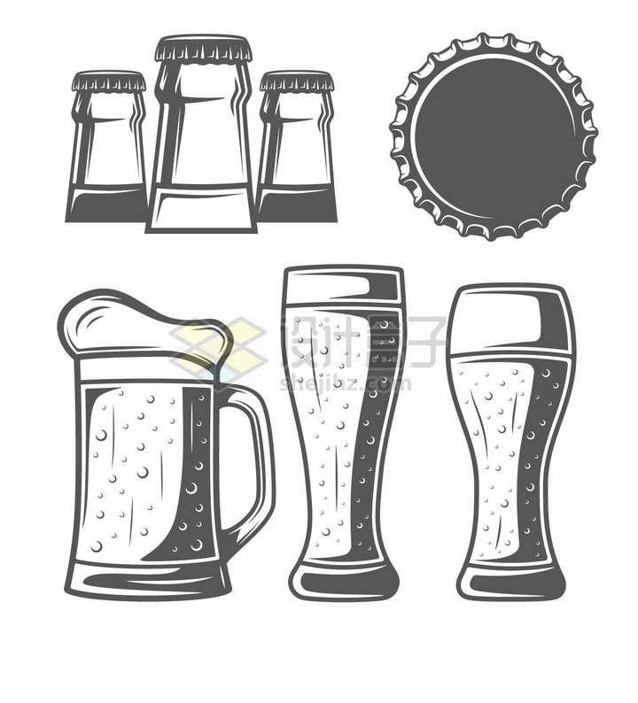 啤酒杯啤酒瓶盖手绘插画png图片素材