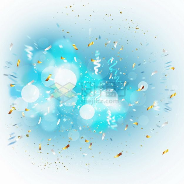 爆炸开的金色碎纸片和蓝色光斑光芒效果png图片素材