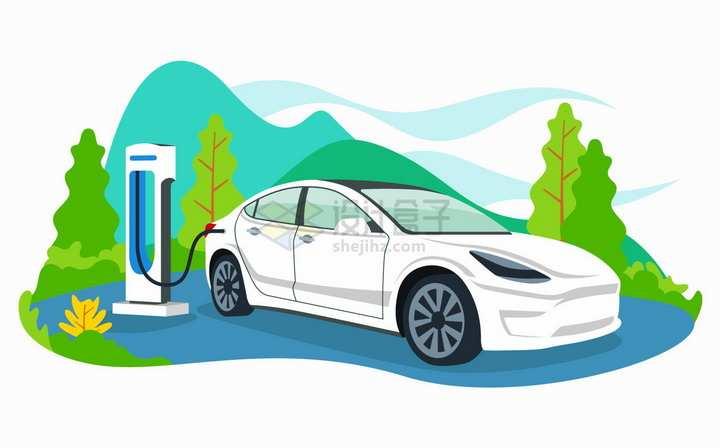 使用充电桩的特斯拉电动汽车扁平插画png图片免抠矢量素材