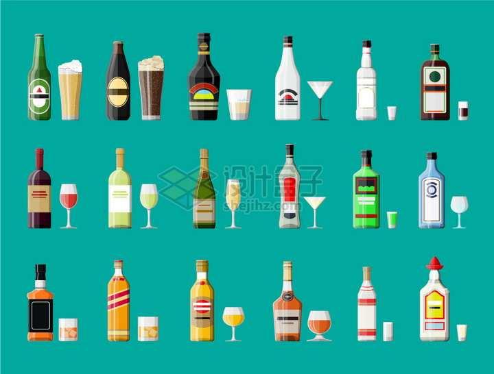 18款酒瓶和酒杯扁平插画png图片素材