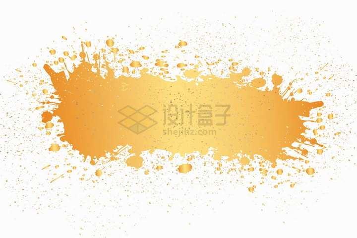 金色喷墨风格涂鸦文本框标题框png图片免抠矢量素材